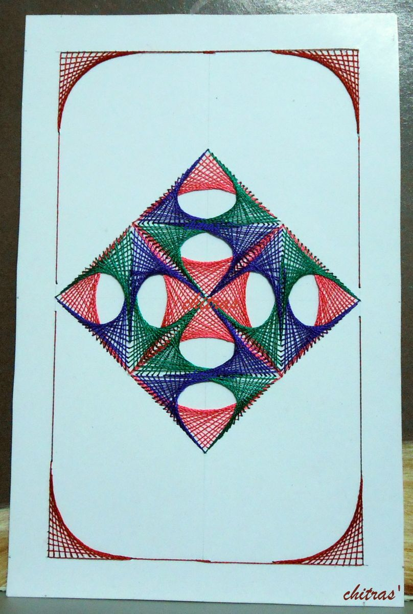 Embroidery on card - Geometrical design