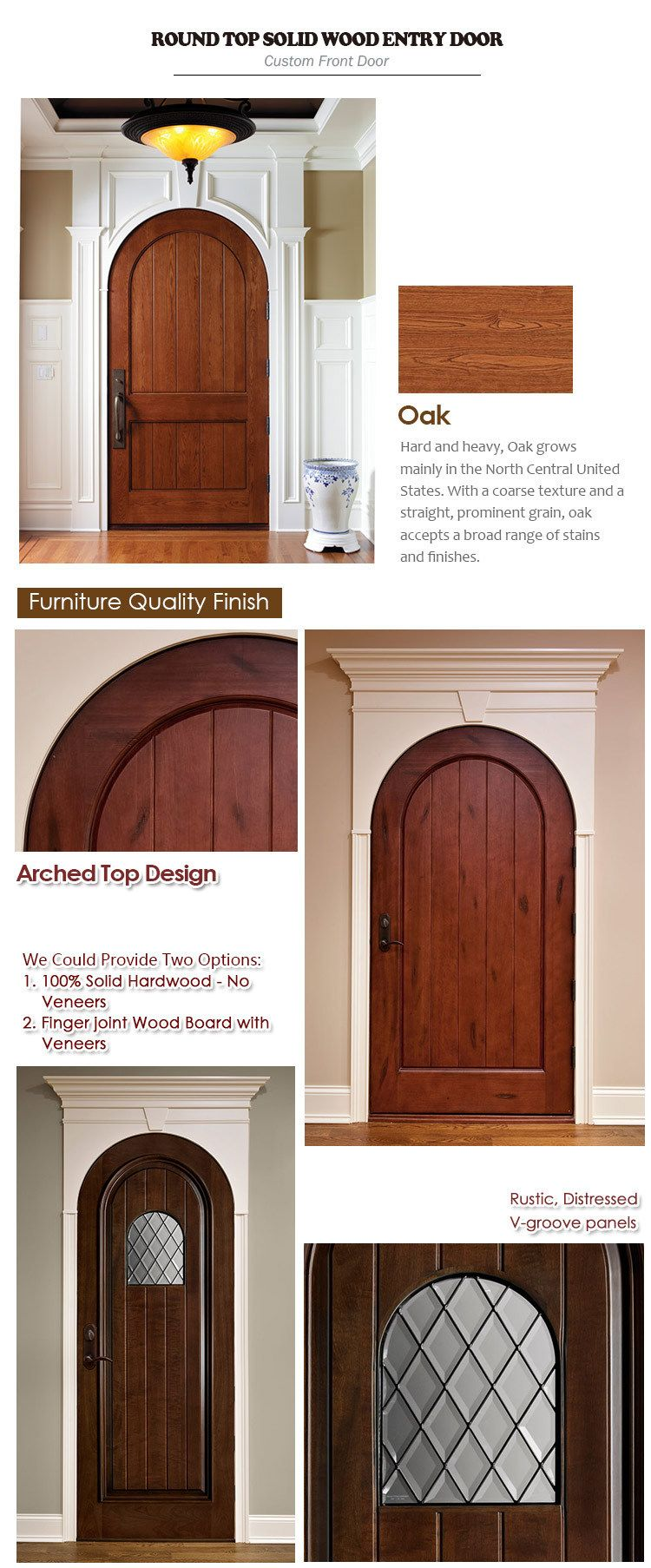 Hot Item World Best Selling Round Top Design Interior Brown Color Plank Panel Entry Door Custom Front Doors Entry Doors French Entry Doors