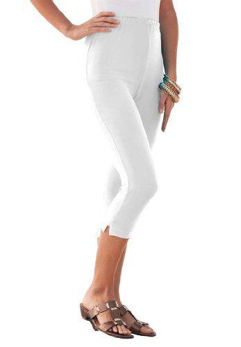 8259eebbd25 Roamans Women s Plus Size Stretch Capri Leggings (White