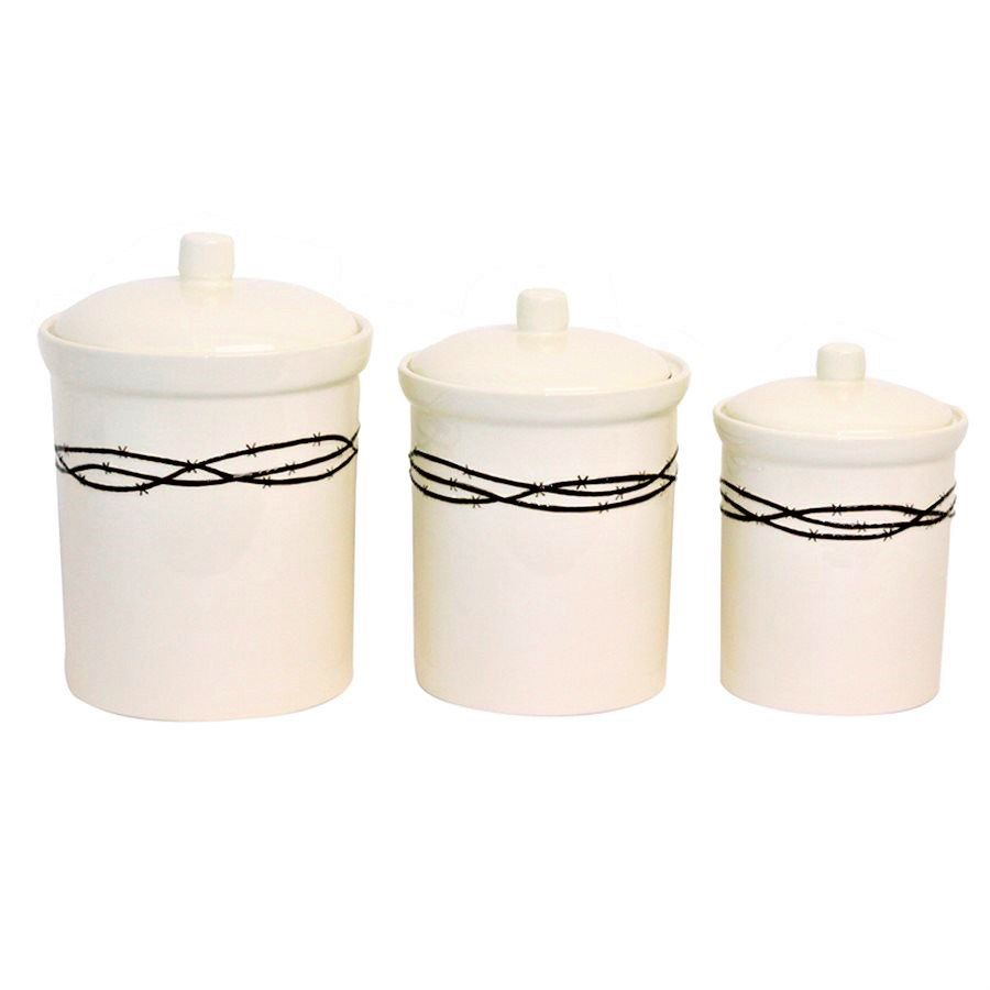 Western Canisters W/ Barbed Wire Trim   Western Kitchen Decor