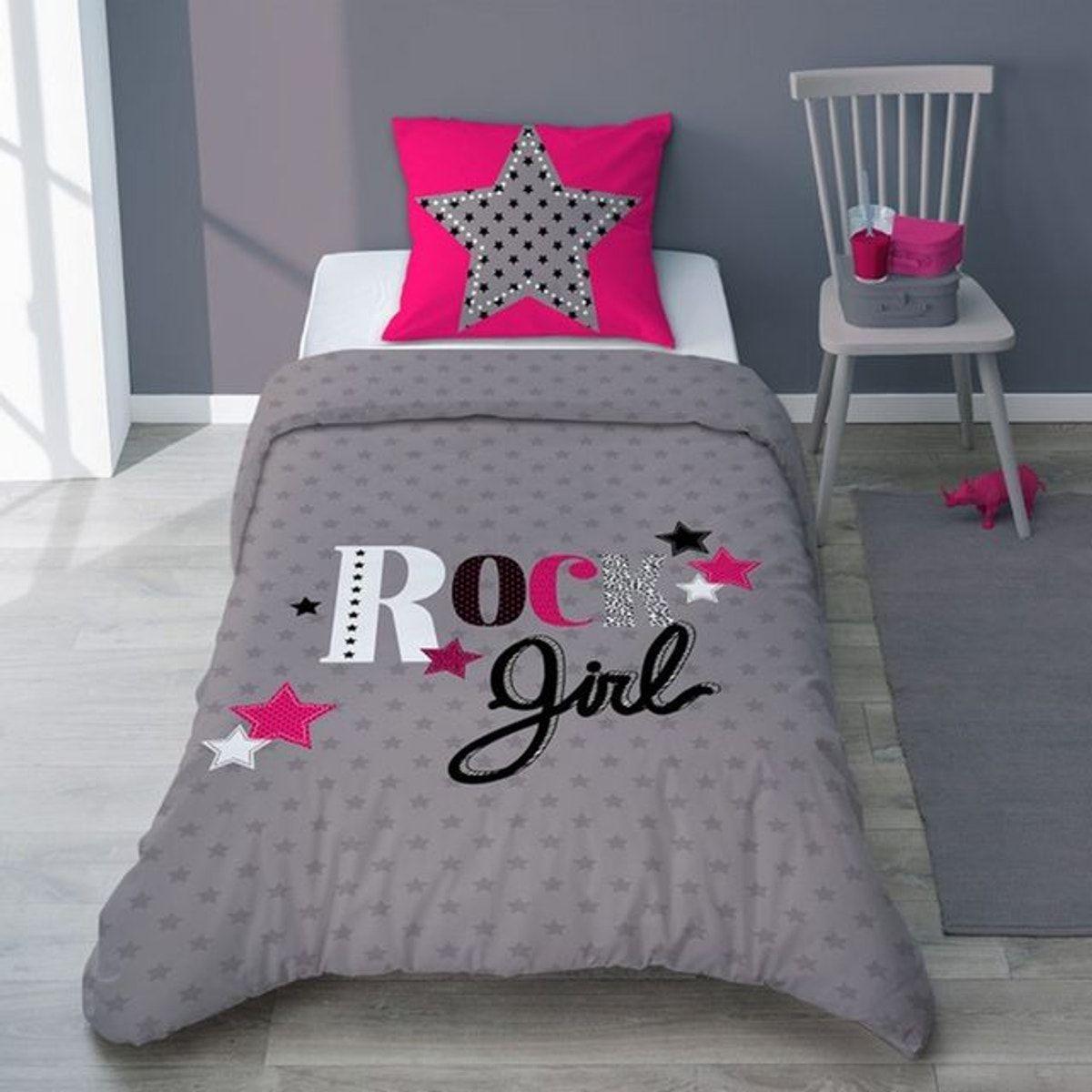Parure De Lit Girly Rock Etoile Gris Anthracite Fuchsia Ado Coton Girly Rock Parure De Lit Parure De Lit Enfant Parure De Lit Ado
