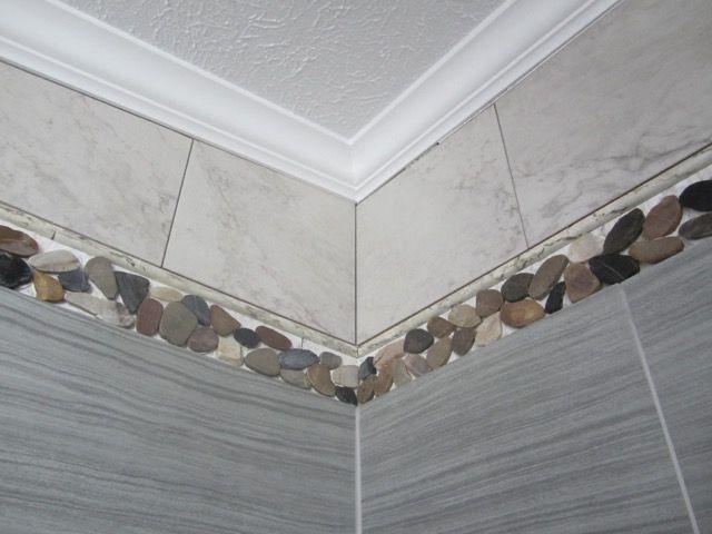 Upper corner of Master Bath shower - crown moulding, faux marble ...