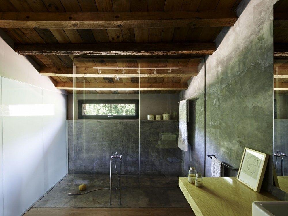 polished concrete shower recess