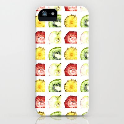 Fruit Slices Pattern iPhone & iPod Case by Cindy Lou Bailey  - $35.00.  A fun pattern of delicious slices of juicy fruits. A strawberry, a kiwi, a pineapple and a honeycrisp apple; in lovely shades of red, green, and yellow. Painted in watercolor on Hot Press arches watercolor paper by Cindy Lou Bailey. #apple #kiwi #pineapple #strawberry #honeycrisp #watercolor #framedprint #green #red #yellow #fruit #slice #iPhone #iphonecase #pattern #textile #fresh #spring #bright #fruits
