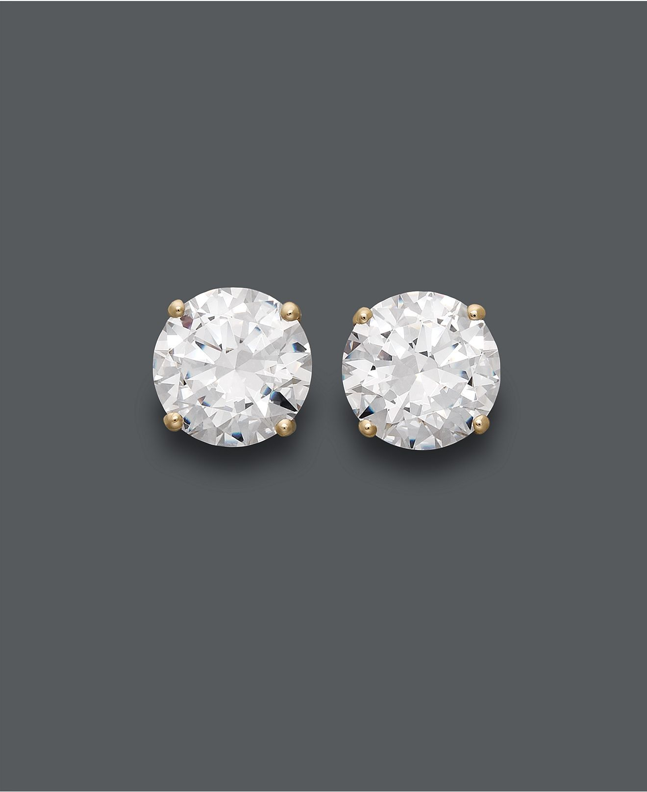 fdf7d4e44 Arabella 14k Gold Earrings, Swarovski Zirconia Round Stud Earrings (1-3/4  ct. t.w.-6-5/8 ct. t.w.) - Earrings - Jewelry & Watches - Macy's