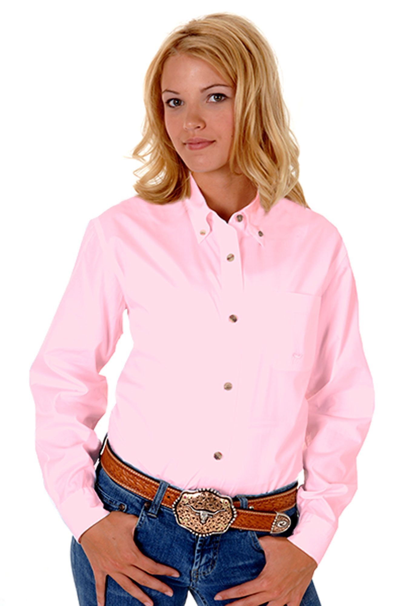 Roper Ladies Basic Solid Poplin Long Sleeve Shirt Button Closure