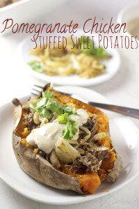 Pomegranate Chicken Stuffed Sweet Potatoes + Whipped Tahini Recipe