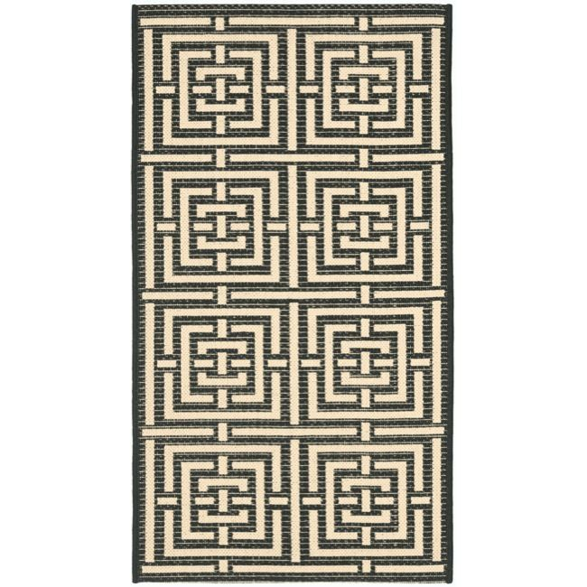 Perfect for any backyard, patio, deck or along the pool, this rug is great for outdoor use as well as any indoor use that requires an easy to maintain rug. This rug has a black background and displays stunning panel color of bone.