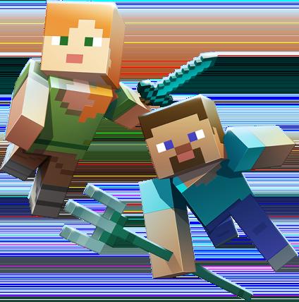 Alex And Steve Swimming Underwater Minecraft Art Minecraft Pictures Minecraft Anime