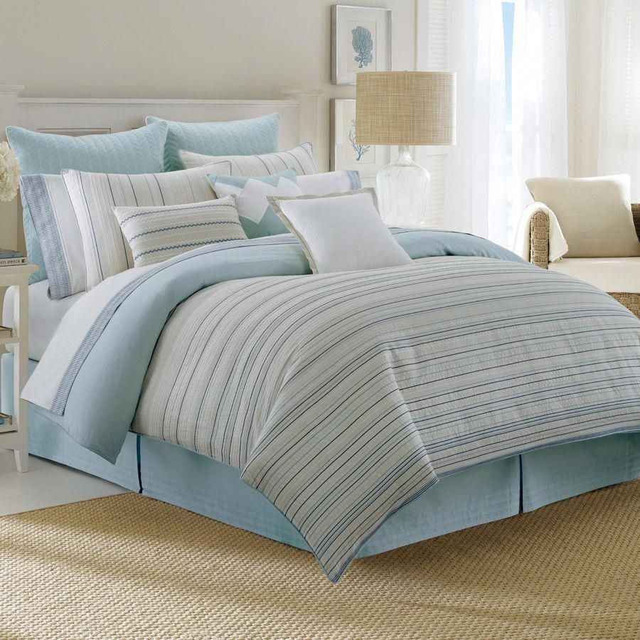 Marina Isles By Nautica Bedding Puts A Nautical Twist On Stripe Design The Jacquard Cotton Comforter Face Features Comforter Sets Luxury Bedding Bedding Sets