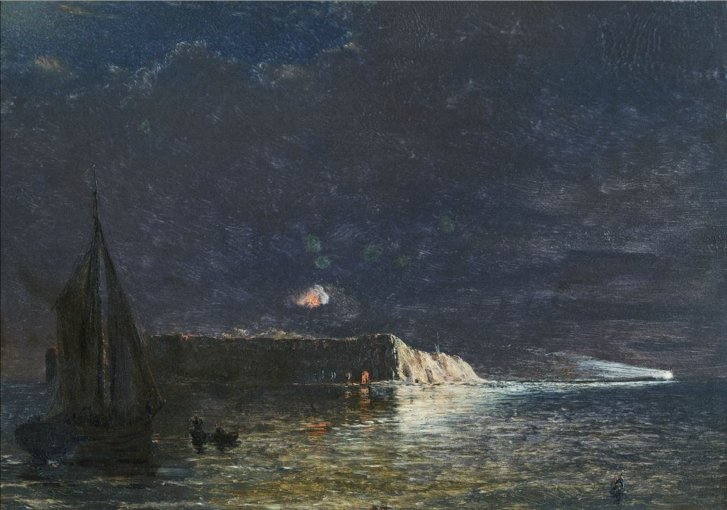 Conrad Wise Chapman - Shows calcium light thrown from Morris Island. Mail boat in the distance, 1898
