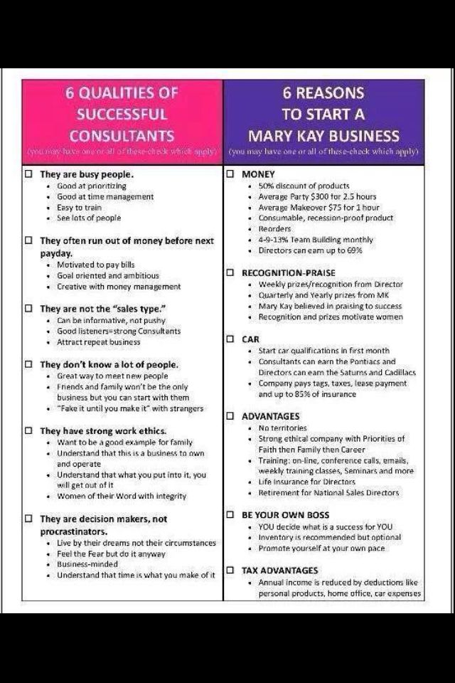 Mary Kay 6 Qualities And Reasons Contact Me Today To Start Your Own Business