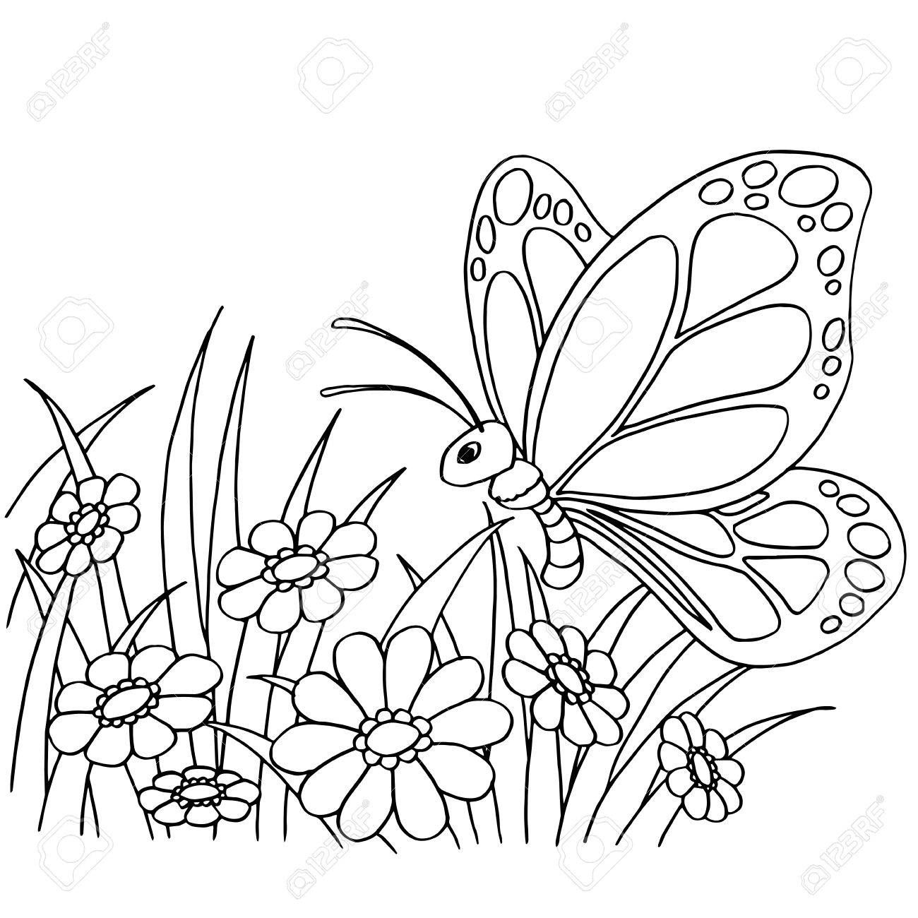 Butterfly And Flower Cartoon Coloring Page Vector Illustration Illustration A Butterfly Coloring Page Flower Coloring Pages Printable Flower Coloring Pages [ 1300 x 1300 Pixel ]