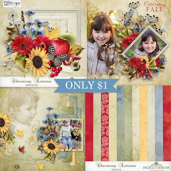 New Charming Autumn - this cheerful kit combines the bright colors of fall in soft sunlight with slightly shabby elements and papers.   Each pack JUST $1, until September 22. http://www.pickleberrypop.com/shop/manufacturers.php?manufacturerid=83