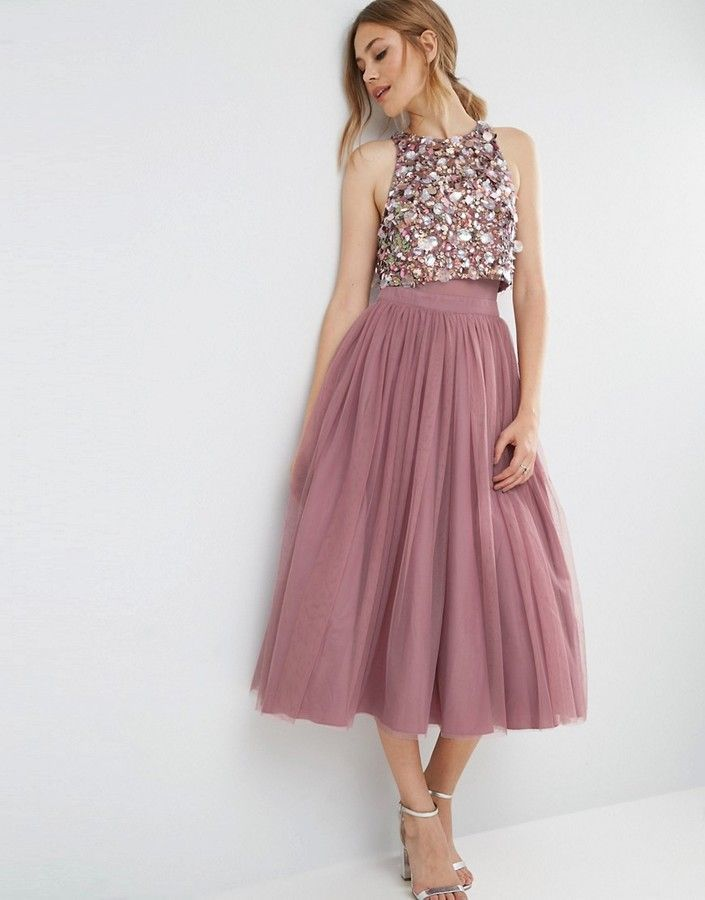 Asos cluster embellished mesh crop top midi dress for Best wedding guest dresses