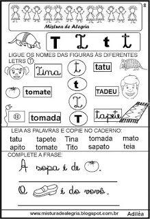 Livro Familias Silabicas Letra T Atividades Com A Letra T