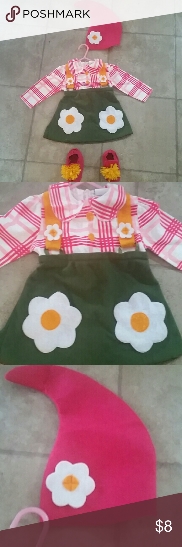 12-18 Mos GNOME Costume OMG Shop no more for your toddler!!! This gnome costume is sure to please(and crack up) your entire neighborhood!!!!! Decorate that fairy garden(wagon) and get out your gardening gloves mama, were ready to trick-or-treat!!! Felt dress, hat and shoe covers(I added the yellow mums to match) held up great after Halloween and 2 washings. Wore with gold tights. You will LOVE IT! Costumes Halloween #gnomecostume