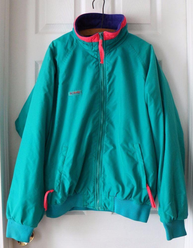 fefe91d88 Vintage COLUMBIA Teal Purple Jacket Coat Radial Sleeve LARGE Fleece Lined  Winter #LLBean #BasicCoat