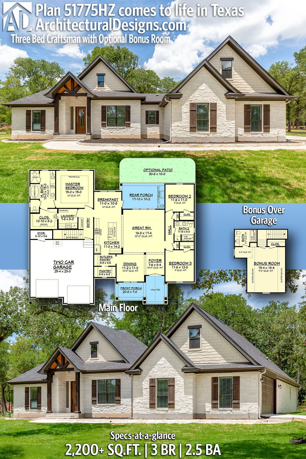 Pin By Architectural Designs House Pl On Someday In 2020 Architectural Design House Plans Brick Exterior House Craftsman House Plans