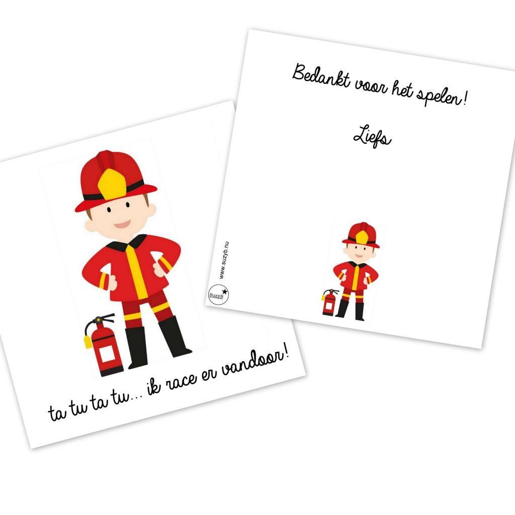 Traktatie Kaartjes Brandweer Afscheid 10 X Brandweer Brandweerman Kinderfeestje