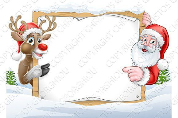 6f165efe10 Christmas Santa and Reindeer Sign Background by Christos Georghiou on   creativemarket