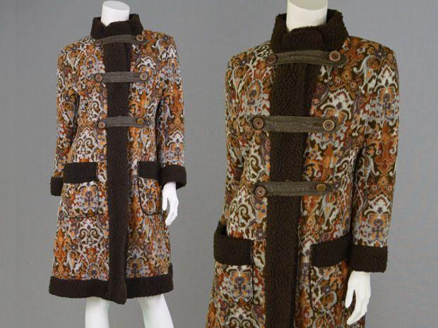 Vintage 60s 70s Tapestry Coat Boho Jacket Carpet Coat Upholstery Jacket Russian Princess Coat 1960s Mod Faux Sheepskin Fleece Li Boho Jacket Princess Coat Coat