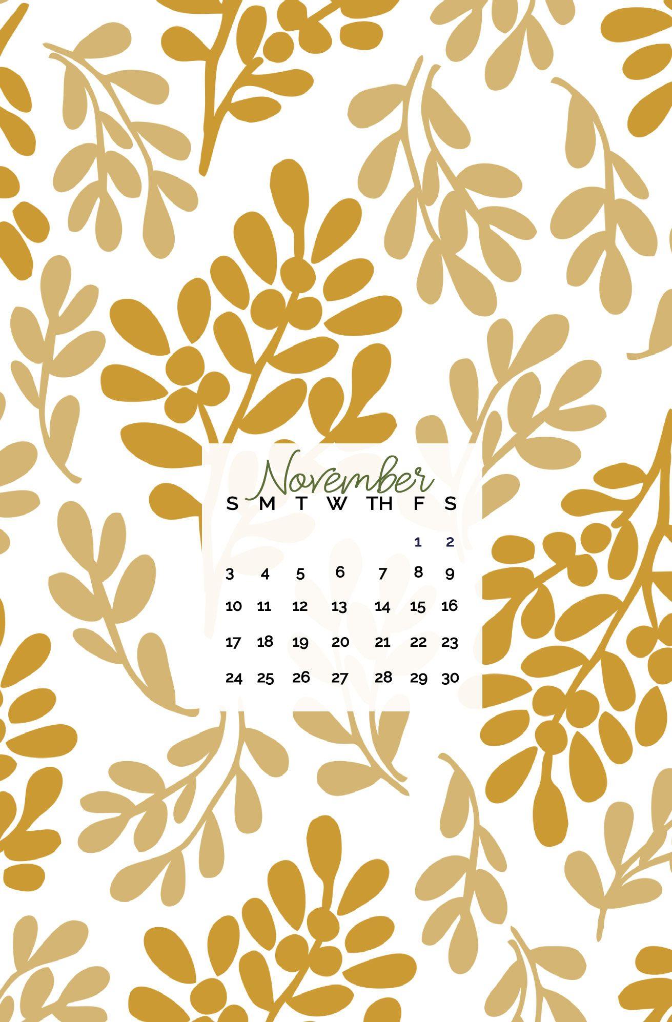 Floral November calendar iPhone wallpaper Iphone