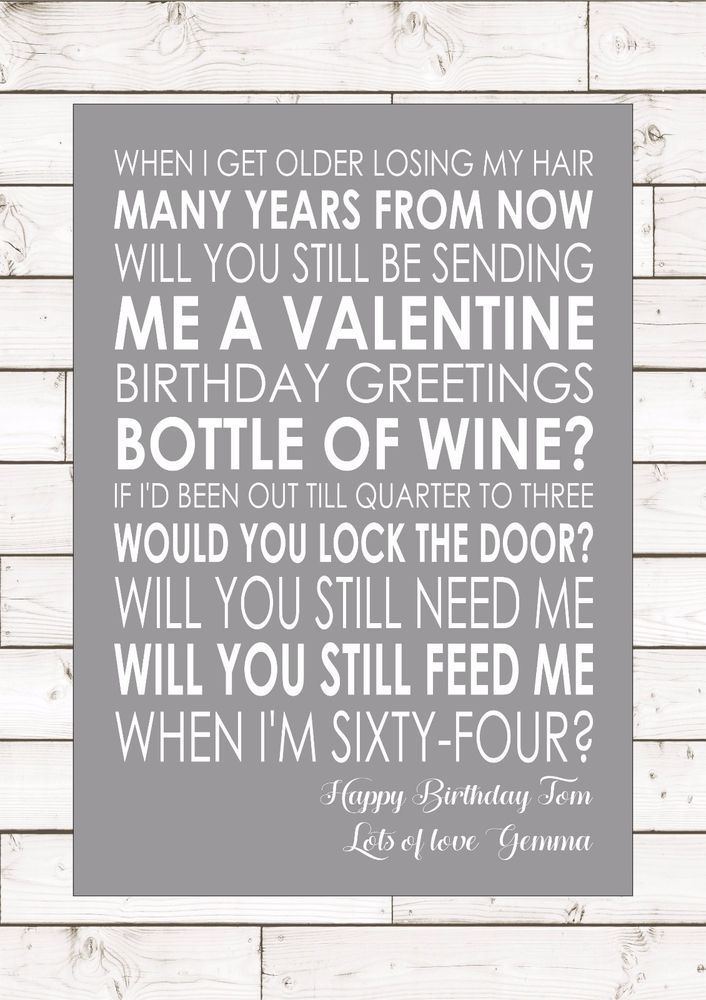 When I M 64 Beatles Personalised Name Song Lyrics Birthday Gift Lyric Wall Art Ebay Lyrics On Canvas Beatles Birthday Party Beatles Party