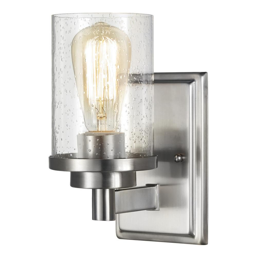 Home Decorators Collection 1 Light Brushed Nickel Wall Sconce 7950hdc The Depot