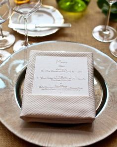 Wedding Napkin Folds Horizontal Menu Cards