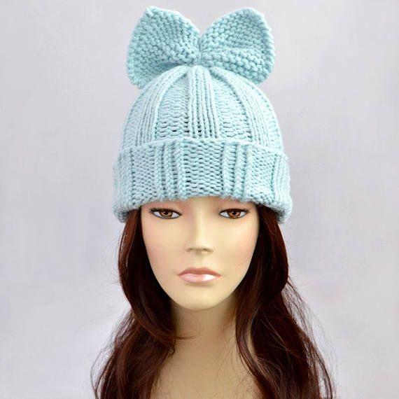 1e1ac87e428 Fairy Kei Hat Knitting Pattern    Bow Hat Pattern Woman Hat with Bow Knit  Hat Beanie Knit Beanie Bon