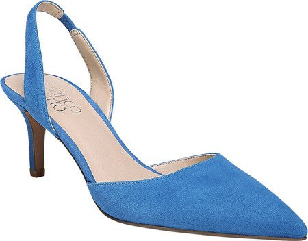 74c1ffc1364 Women s Franco Sarto Tokyo Kitten Heel Slingback - Cerulean Diva Suede with FREE  Shipping   Exchanges. The Franco Sarto Tokyo Kitten Heel Slingback exudes  ...