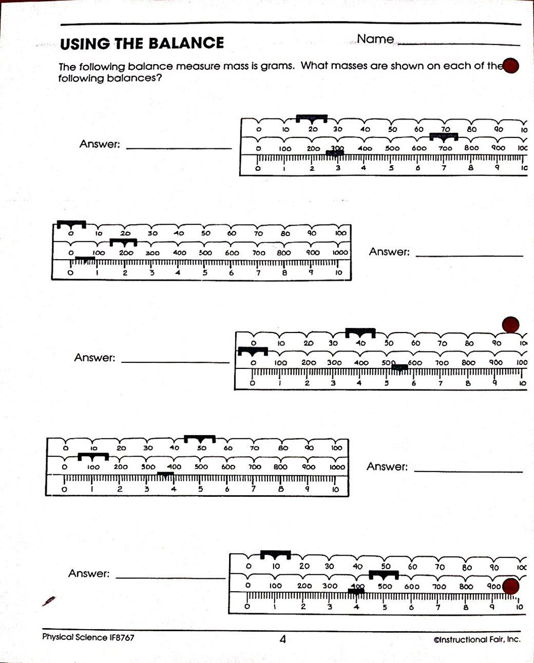 Reading Triple Beam Balance Worksheets