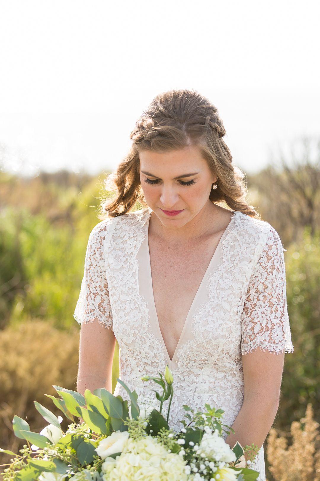 Laid Back Natural Bridal Look Half Up Half Down Wedding Hair