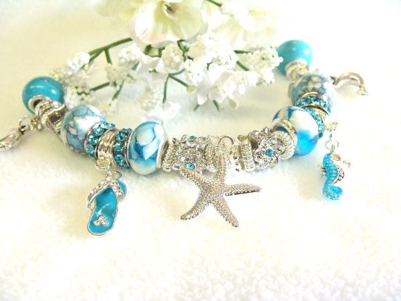 Pandora Style Aqua Bracelet With Beach Charms By Girliegals