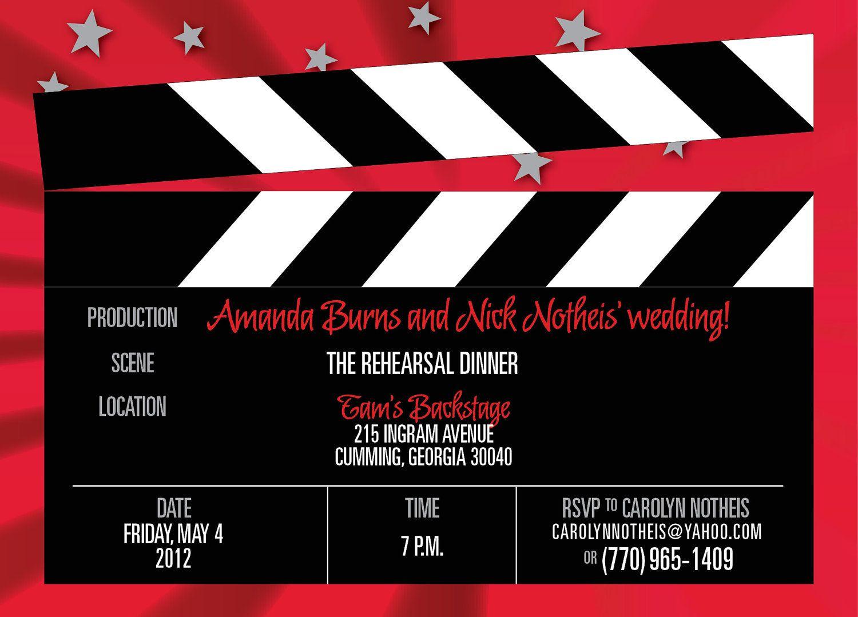 20 custom Hollywood Movie clapboard rehearsal dinner invitations ...