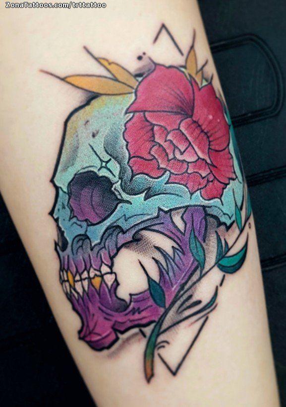 Tatuaje De Calaveras Flores Plantas Tattoos Tatuajes