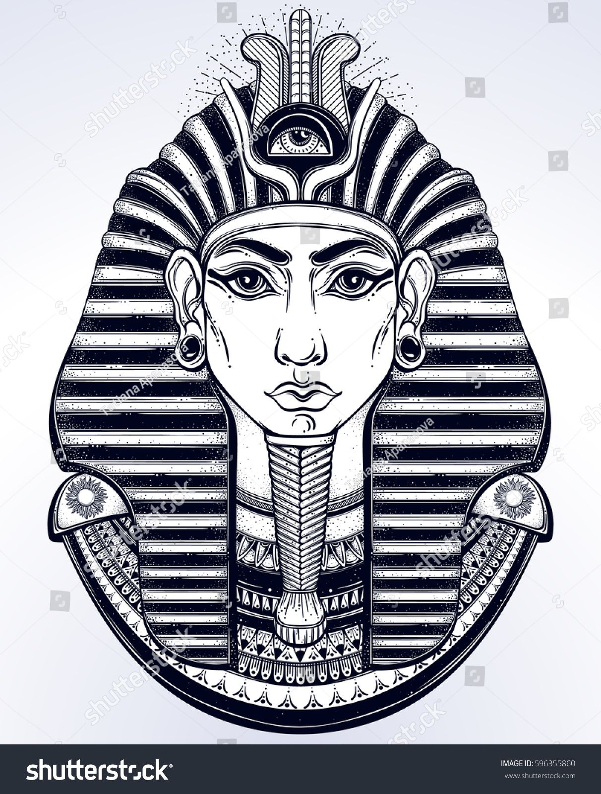 Pharaoh Head Tattoo Design