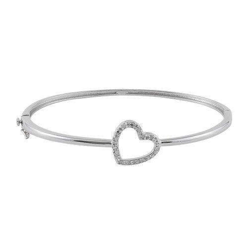 I am absolutely in love with the Sterling Silver 1/10 cttw Diamond Heart Hinged Bracelet from #jewelexclusive