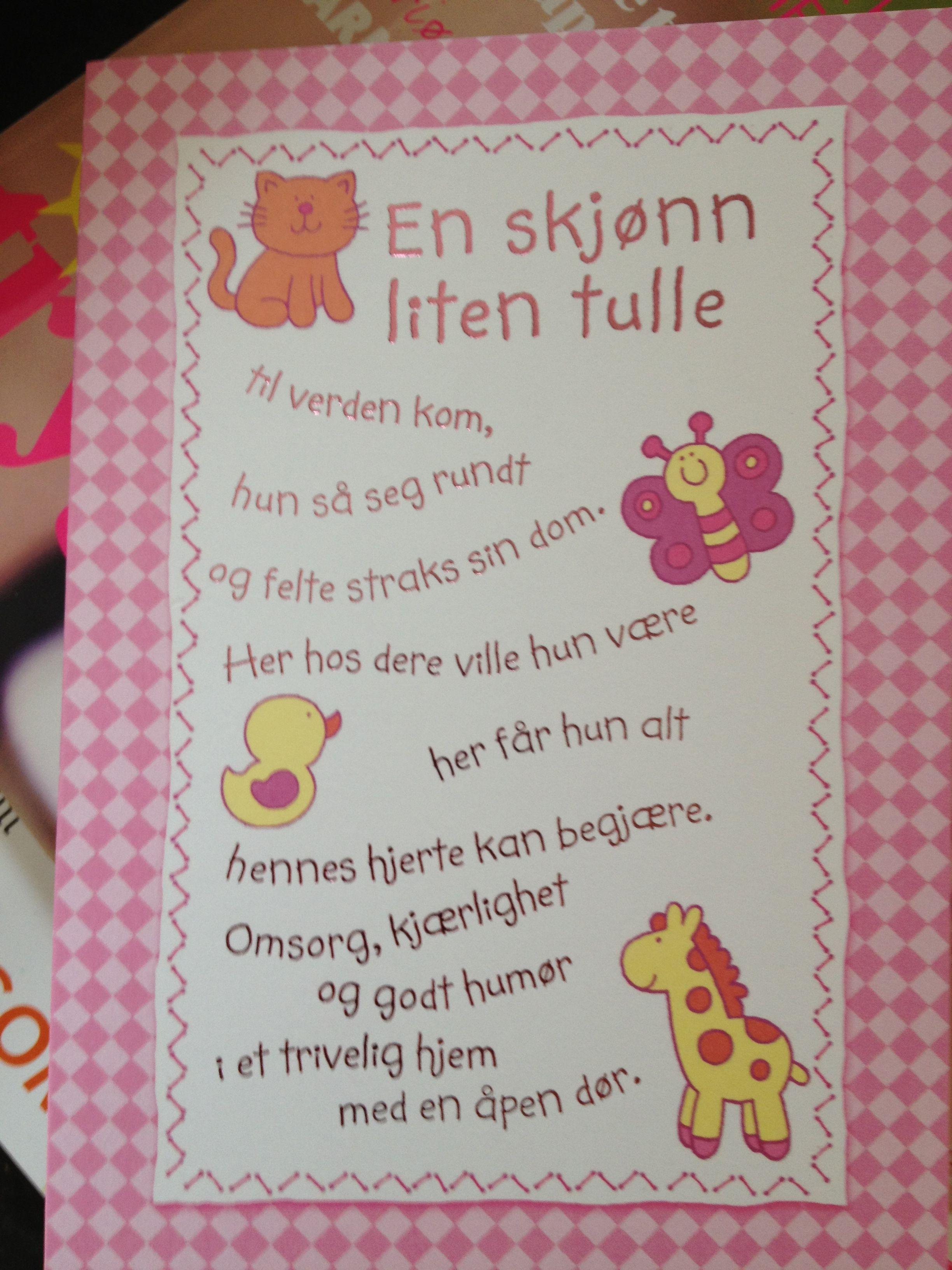 tekst til kort til nybagte forældre
