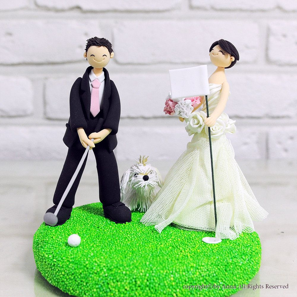 Golf mania couple custom wedding cake topper Decoration Keepsake ...