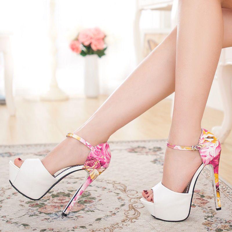 Fashion Womens High Heels Open Toe Sandals Ankle Strap Shoes Pumps Sandals