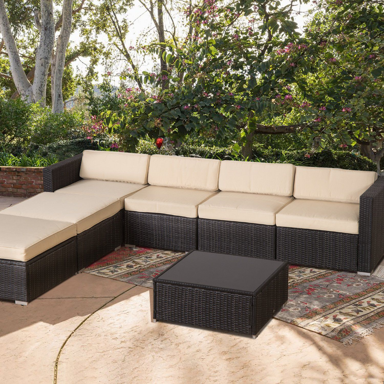 Diensday 7 Piece Patio Rattan Furniture Set Cushioned Outdoor
