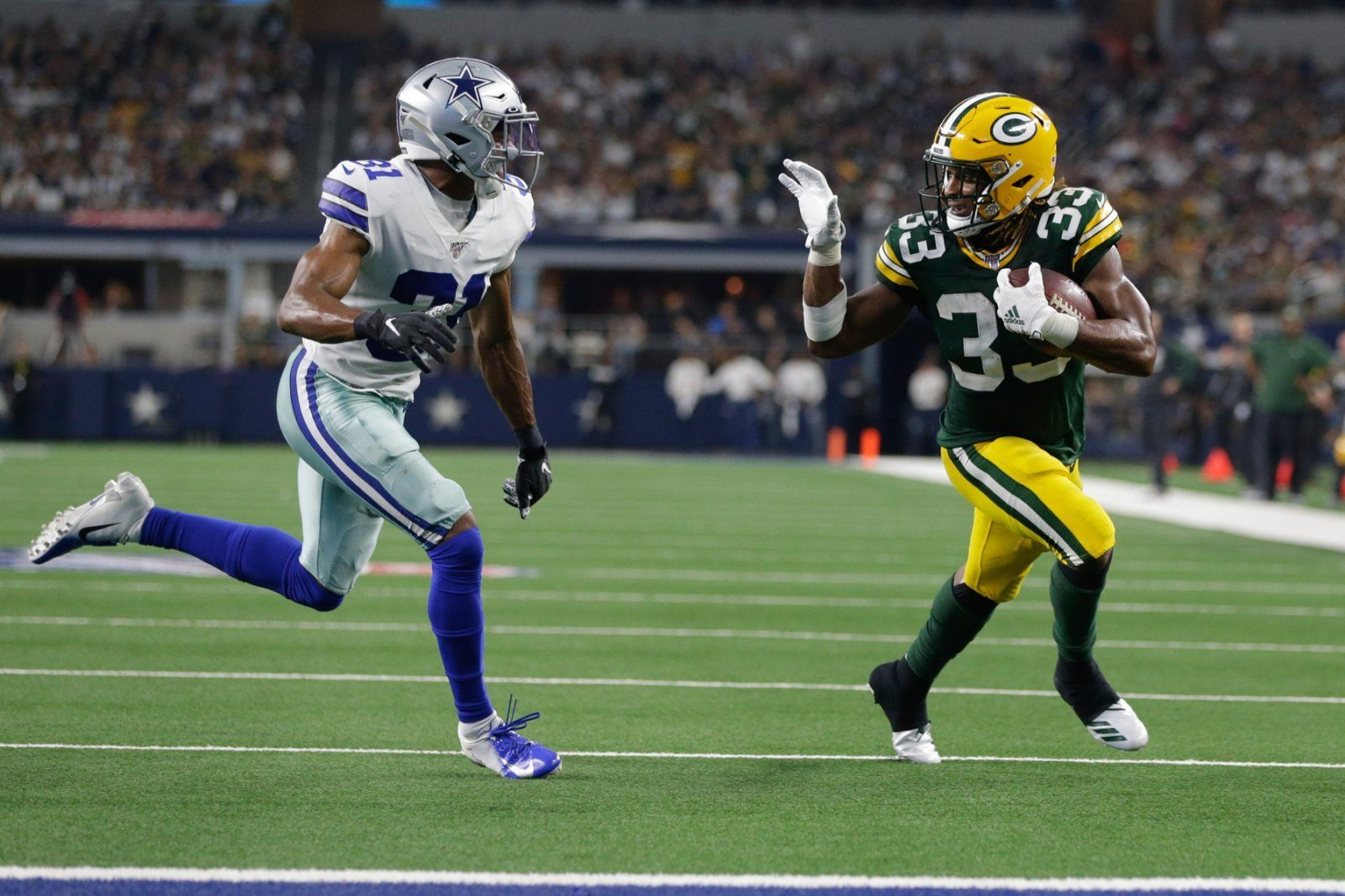 Aaron Jones Talks About Packers Coach Matt Lafleur S Response To His Waving Touchdown Taunt Against The Dallas Cowboys Total Packers Green Bay Packers Green Bay Nfl