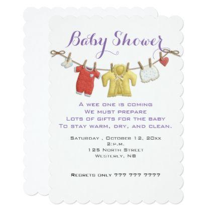 Clothes Line Baby Shower Invitation - invitations custom unique diy personalize occasions