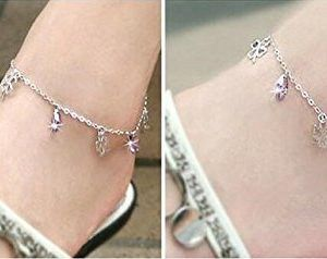 Anklet Bracelet Sterling Silver with Lucky Clover and Purple CZ Foot Chain Anklets Adjustable Length nyF7O