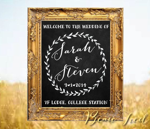 Wedding Chalkboard Sign Welcome To Our Personalized On Etsy 125 00