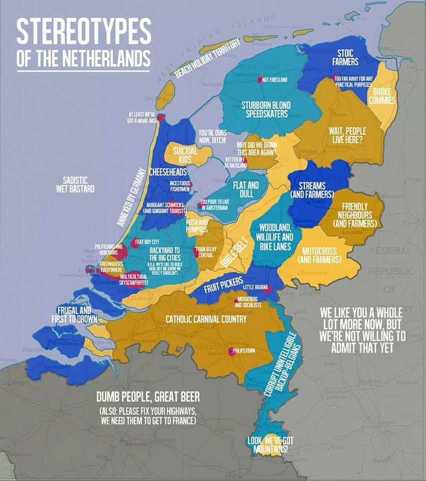 Everyone Loves Generalising And Making Stereotypes And Now A Dutchman Has Done It For Us Check Out His Map Of Dutch Stereotypes
