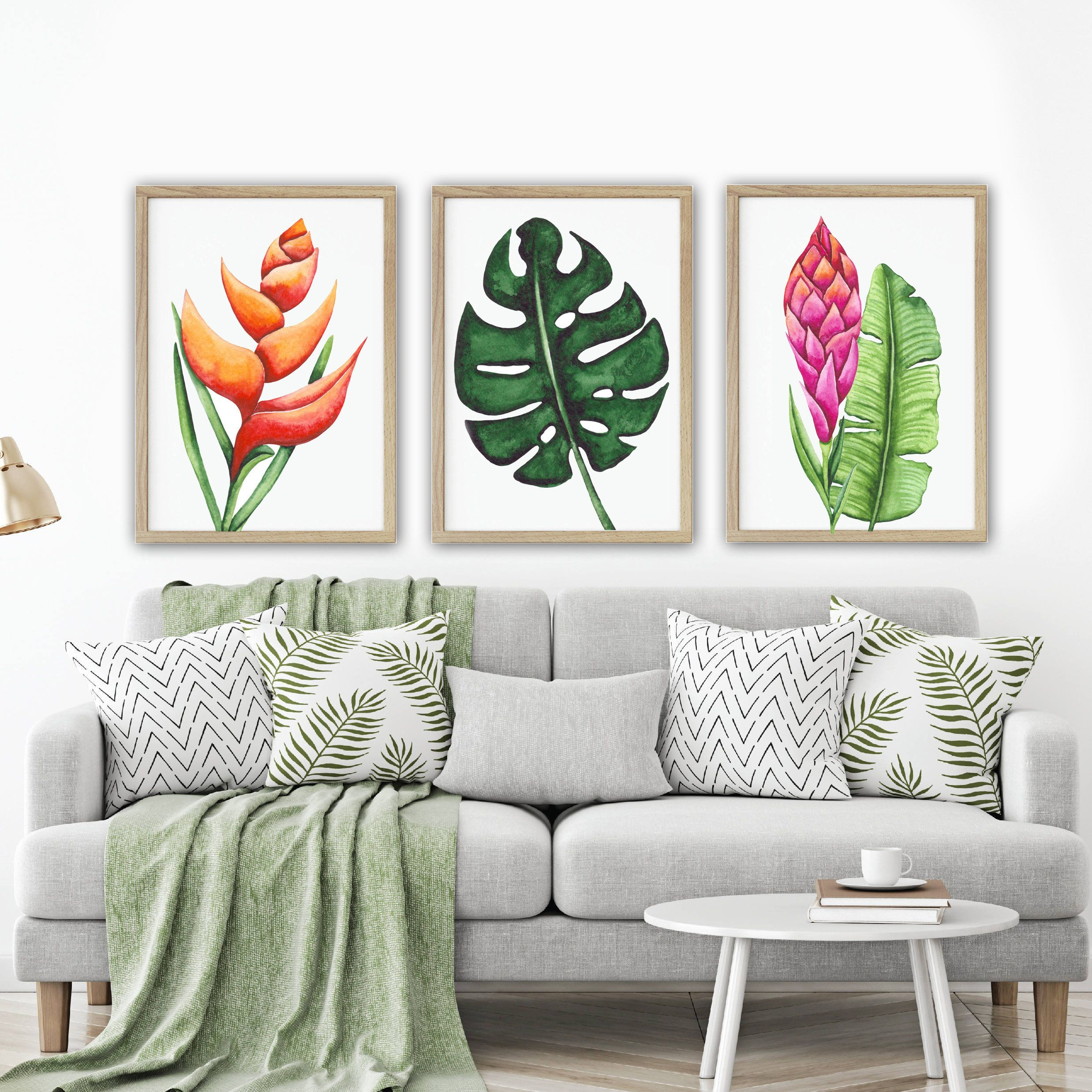 Tropical Watercolor Wall Art Watercolor Banana Leaf Living With