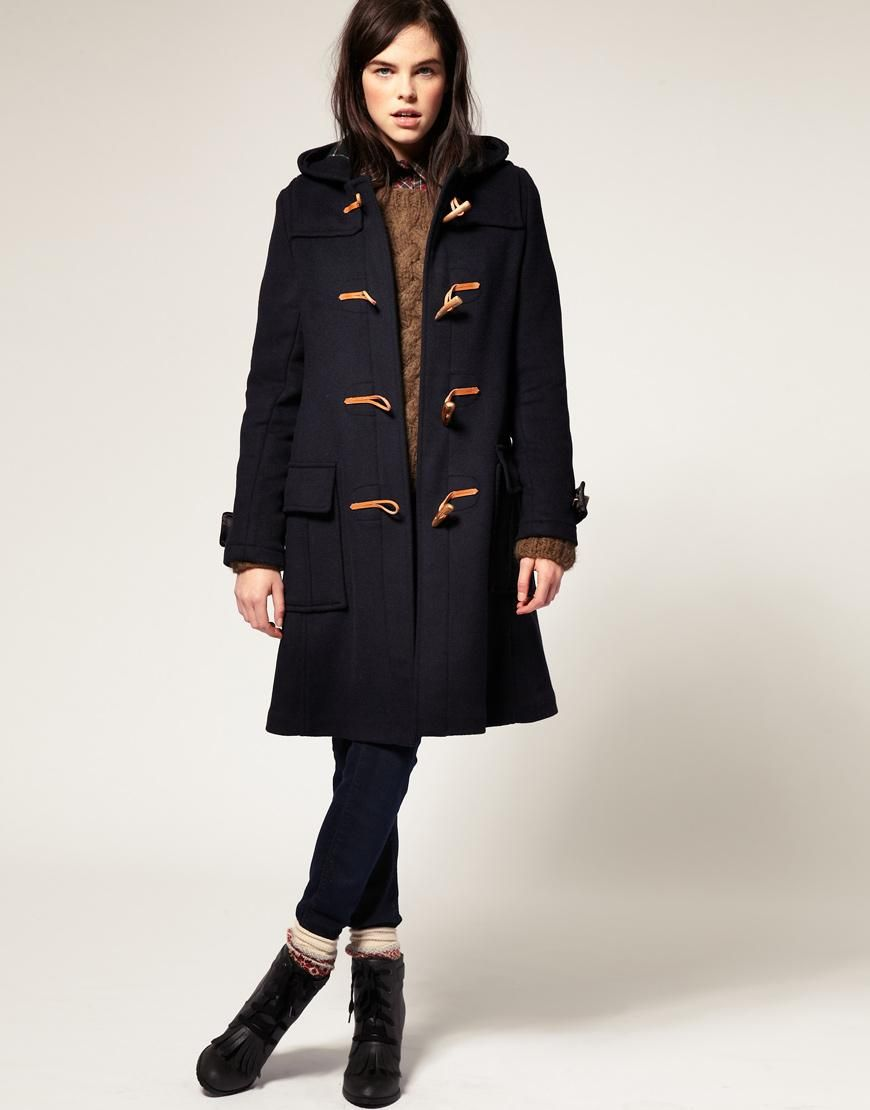 Gloverall | Gloverall Fit and Flare Wool Duffle Coat with Hood at ...